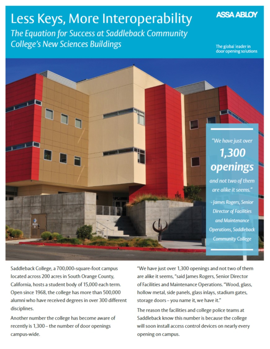 access control at saddleback college